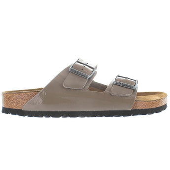 Birkenstock Arizona - Fossil Patent Leather Dual Buckle Slip-On Footbed Sandal
