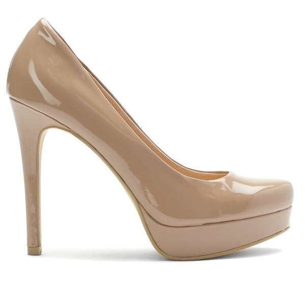 Chinese Laundry Wow - Nude Patent High-Stiletto Platform Pump 10923664374 - Size 5 -