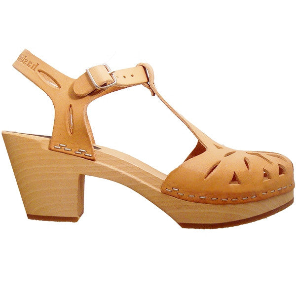 Swedish Hasbeens Lacy - Nature Leather Mid-Heel Clog Sandal