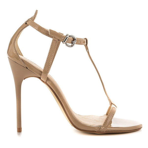 Chinese Laundry Leo - Nude Patent T-Strap Stiletto Sandal LEO-NUDE PAT - Size 5 -
