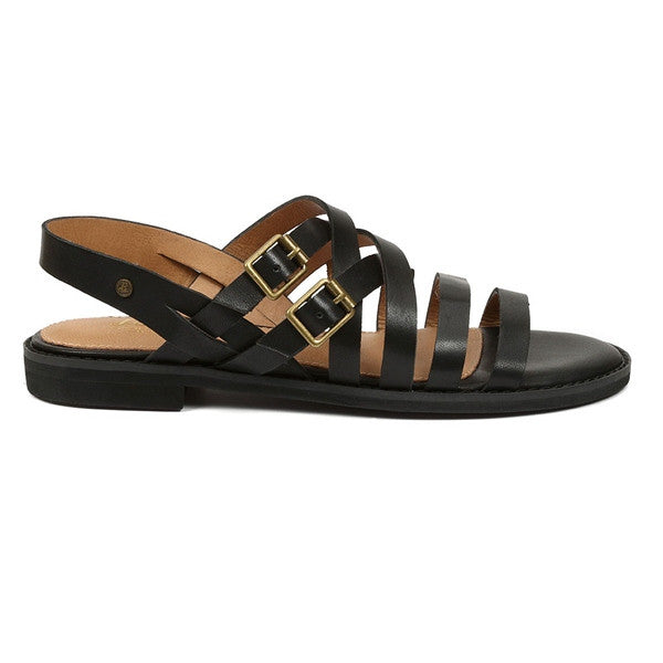 Bass Amidy - Black Leather Strappy Flat Sandal