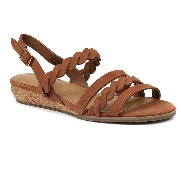 67e0349dbd Bass Jolie - Whiskey Leather Strappy Low Wedge Sandal – Kixters.com