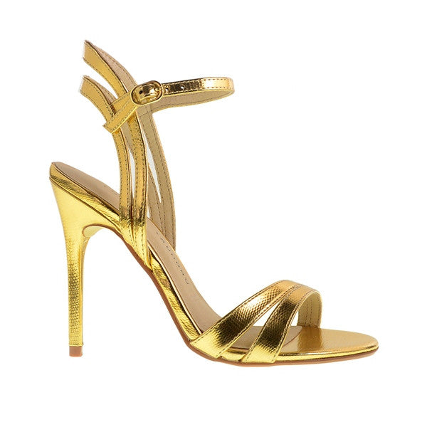 Chinese Laundry Lilliana - Gold Leather Strappy Stiletto Sandal LILLIANA-GOLD - Size 5 -