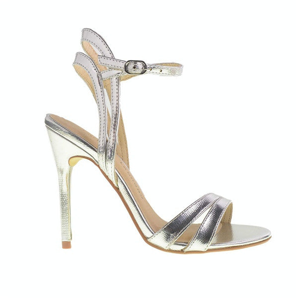 Chinese Laundry Lilliana - Silver Leather Strappy Stiletto Sandal