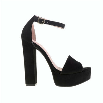 Chinese Laundry Avenue - Black Suede Chunky Platform/High-Heel Sandal