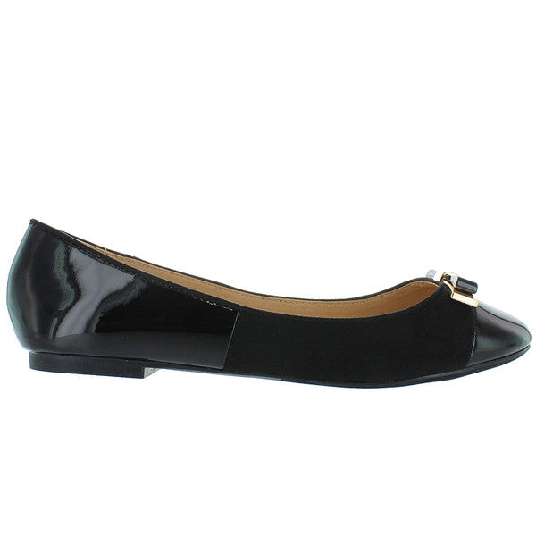 Wanted Barbie - Black Patent/Suede Ballet Flat