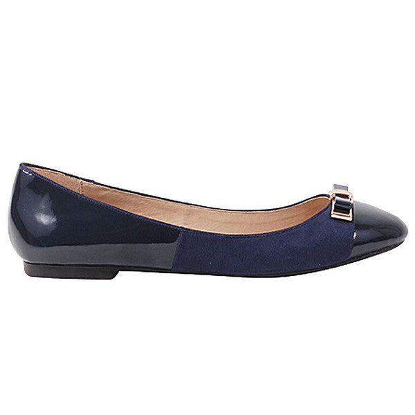Wanted Barbie - Navy Patent/Suede Ballet Flat
