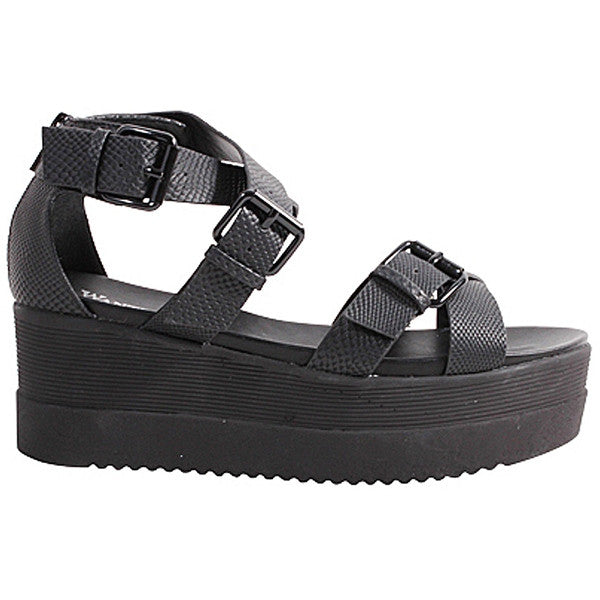 Wanted Twizzler - Black Strappy High Platform Sandal