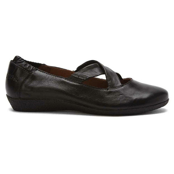 Taos Crosstown - Black Leather Criss-Cross Comfort Flat