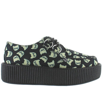 T.U.K Round Toe Creeper - Black Leather Kitty Ribbed Platform Oxford
