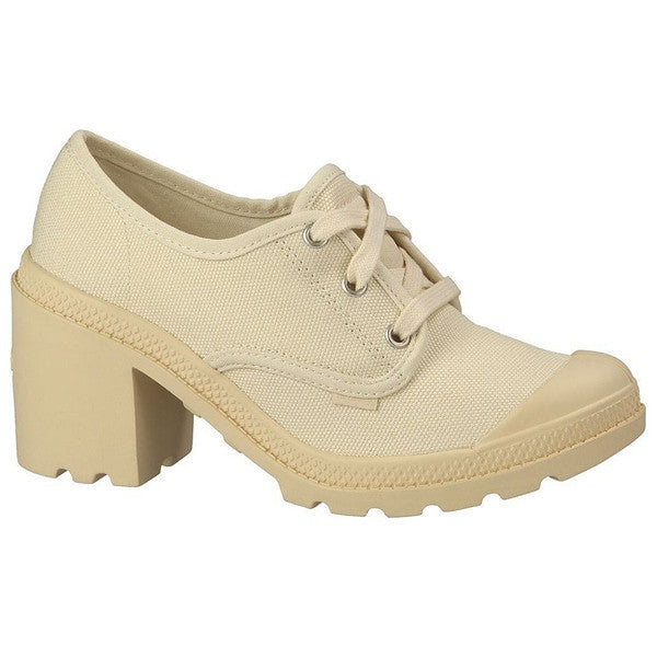 Palladium Pampa Oxford Heel - Ecru Canvas Athletic Shoe