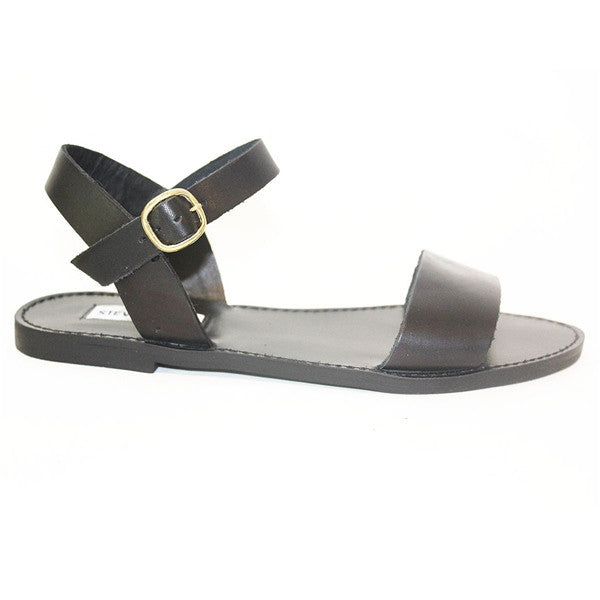 Steve Madden Donddi - Black Flat Leather Sandal
