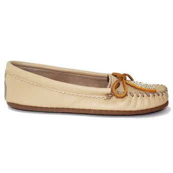 Minnetonka Deerskin Beaded Moc - Beige Leather Moccasin