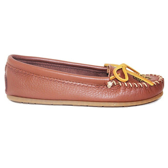 Minnetonka Deerskin Beaded Moc - Caramel Leather Moccasin Loafer