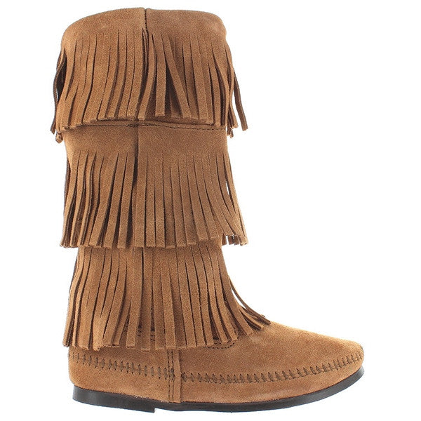 Minnetonka 3 Layer Fringe - Taupe Suede Knee-High