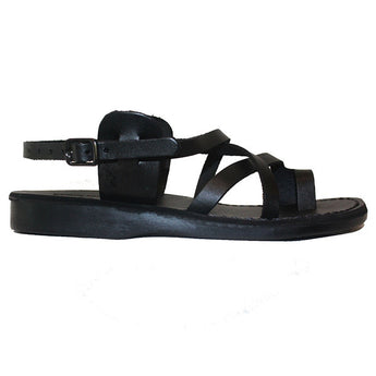 Jerusalem Good Shepherd Buckle - Black Leather Shepherd Sandal 06-BLK