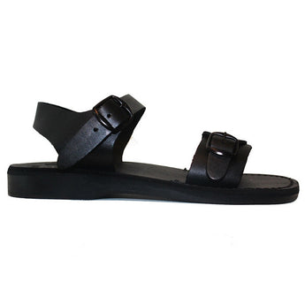Jerusalem Original - Black Leather Shepherd Sandal 01-BLK