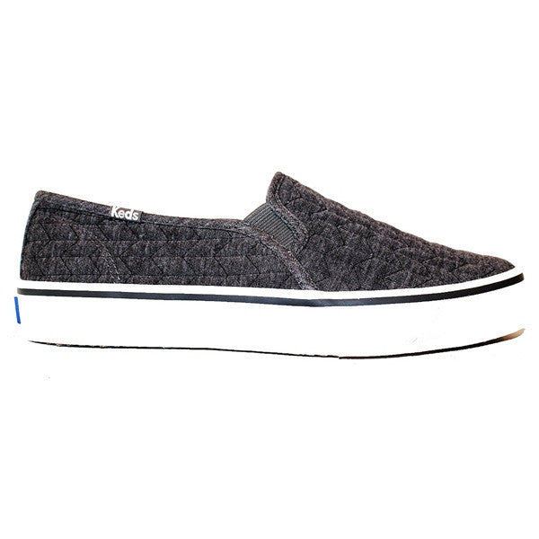 Keds Double Decker - Quilted Jersey Charcoal Slip-On Sneaker