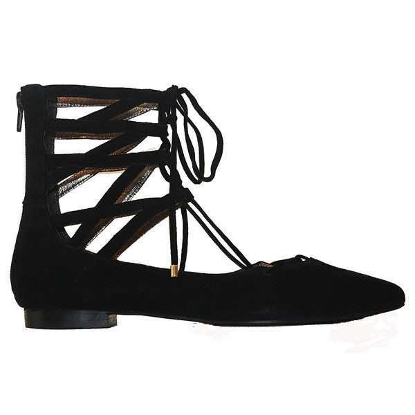 Jeffrey Campbell Atrium - Black Suede Cage Lace-Up Shoe