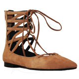 Jeffrey Campbell Atrium - Camel Suede Cage Lace-Up Shoe