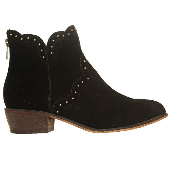 Chinese Laundry Saunter - Black Suede Studded Bootie