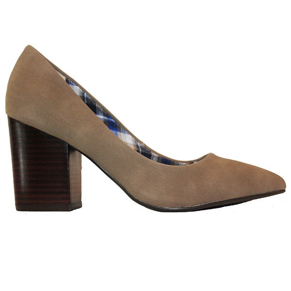 Restricted Jay - Taupe Suede Stacked Heel Pump