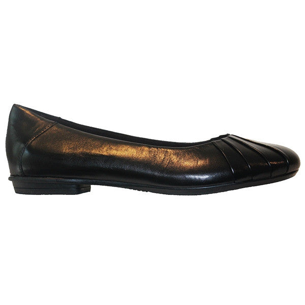 Earth Bell Weather - Black Leather Slip-On Comfort Flat