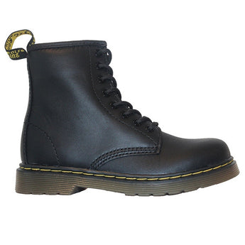 Dr Martens Kids Delaney - Black Softee Leather Lace-Up Bootie