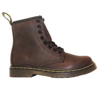 Dr Martens Kids Delaney - Dark Brown Softee Leather Lace-Up Bootie