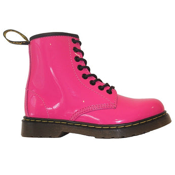 Dr Martens Kids Delaney - Hot Pink Patent Lace-Up Bootie