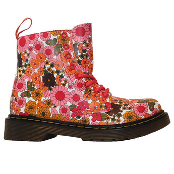 Dr Martens Kids Delaney - Pink Daisy Leather Lace-Up Bootie