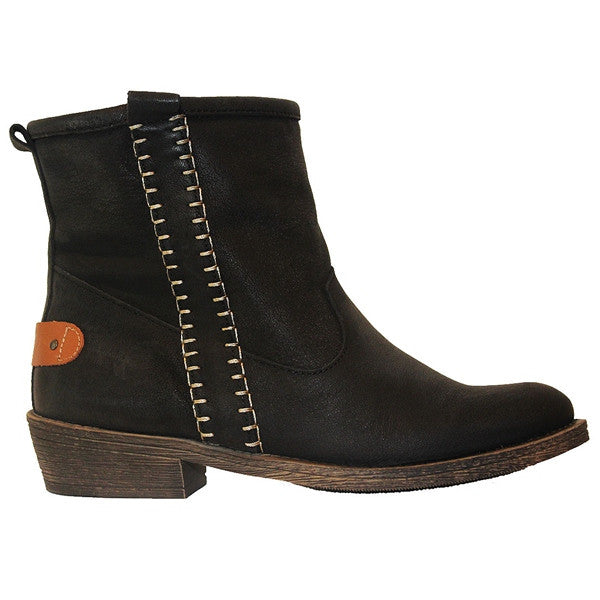 Coolway Carlin - Black Leather Pull-On Bootie