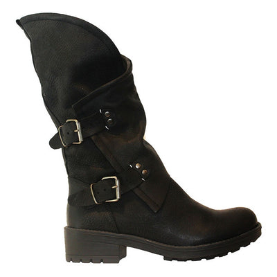 Coolway Alida - Black Leather Slouchy Dual Buckle Boot