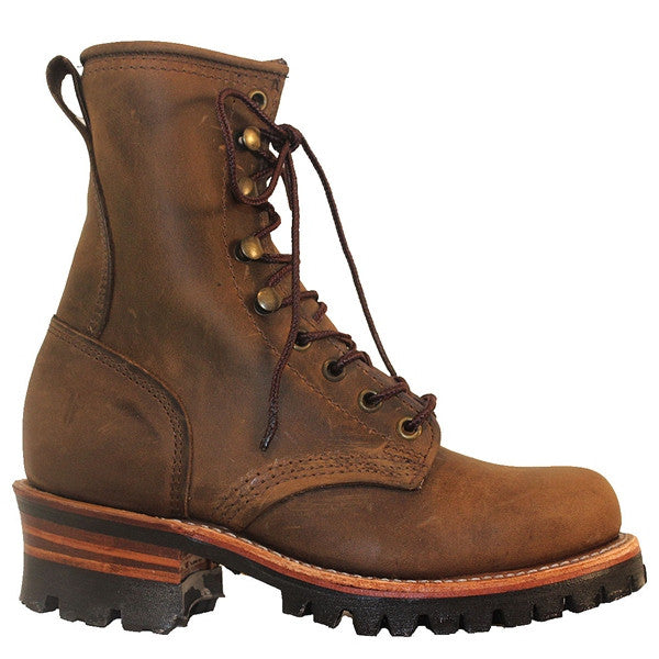Frye Boot 8G Logger - Tan Crazy Horse Leather Lace-Up Lug Boot