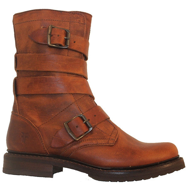 Frye Boot Veronica Tanker - Brown Leather Dual Buckle Strap Engineer Boot