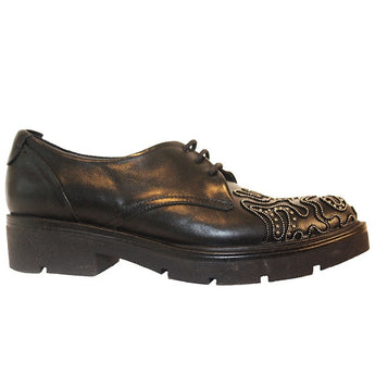 Ethem F1500 - Black Leather Studded Toe Platform Oxford