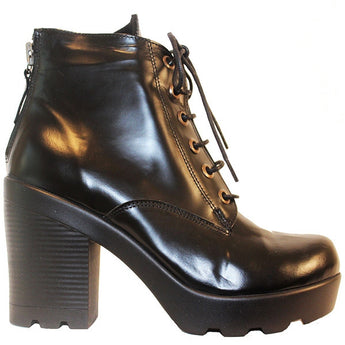 Ethem F1600 - Black Leather Lace-Up Chunky Platform Bootie