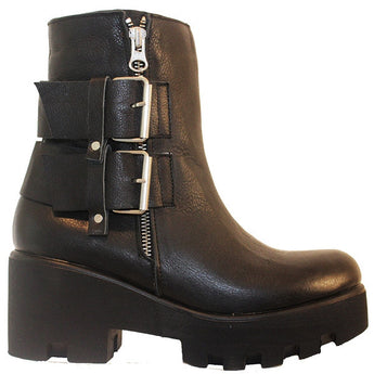 Ethem F507 - Black Leather Dual Buckle Chunky Platform Bootie