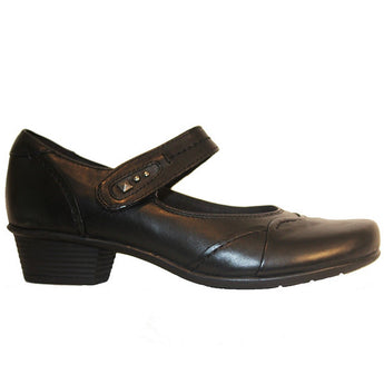 Earth Clover - Black Leather Mary Jane Low Heel Comfort Shoe