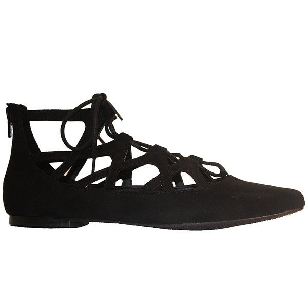 MIA Anamarie - Black Suede Caged Lace-Up Flat