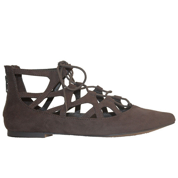 MIA Anamarie - Charcoal Suede Caged Lace-Up Flat