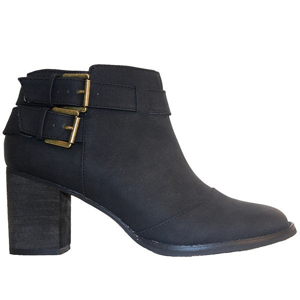 Restricted Carson - Black Dual Buckle Bootie