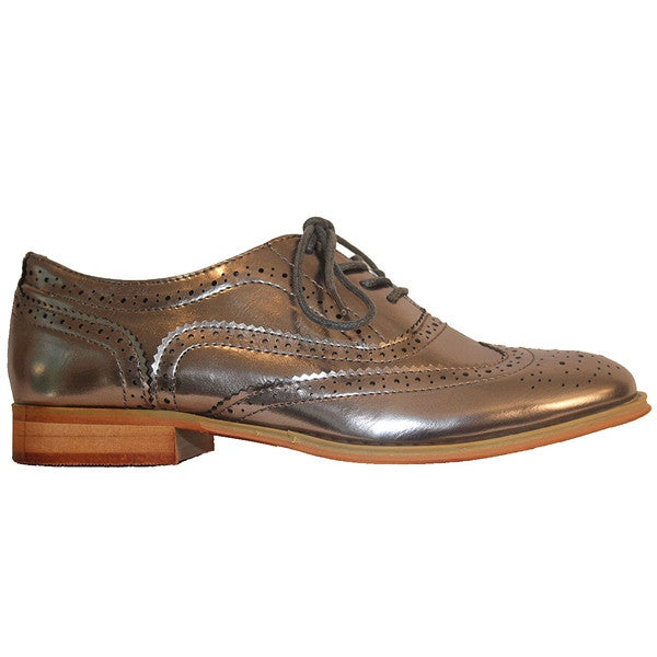Wanted Babe - Metallic Pewter Wing-Tip Oxford