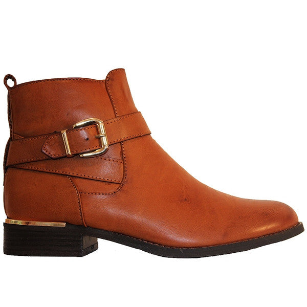 Wanted Tavern - Tan Buckle Strap Flat Bootie
