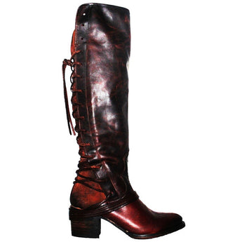 Freebird Coal - Cognac Multi Leather Over-The-Knee Back Lace-Up Boot