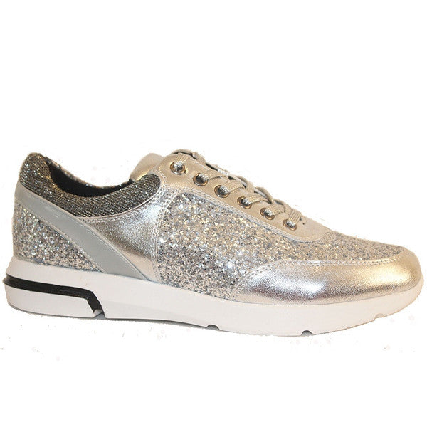Wanted Hayes - Silver Metallic/Glitter Lace-Up Sneaker