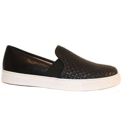 J Slides Botoga - Black Woven Leather Slip-On Flat Sneaker