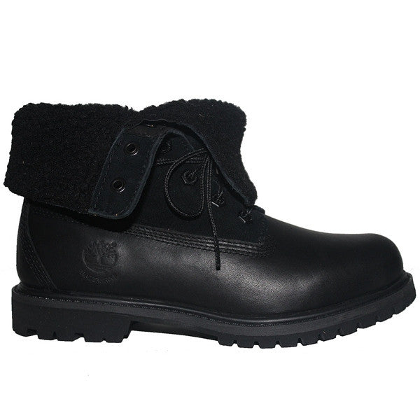Timberland Earthkeepers Teddy Fleece - Waterproof Black Leather Fold-Over Lace-Up Fleece Boot