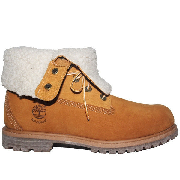 Timberland Earthkeepers Teddy Fleece - Waterproof Wheat Leather Fold-Over Lace-Up Fleece Boot