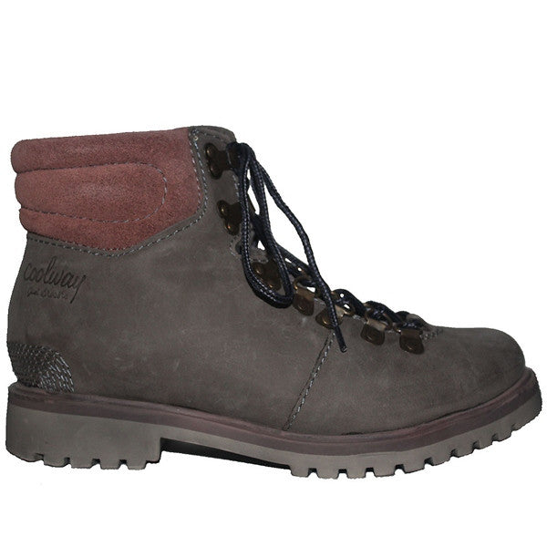 Coolway Bridget - Grey Leather Lace-Up Hiking Boot BRIDGET-BLK